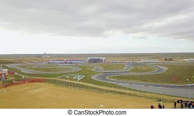 AERIAL VIEW. Russian Karting Championship On Yevpatoriya...