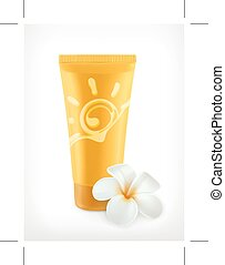 Sunscreen, vector icon, isolated on white background