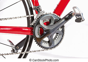 Bicycle Concept. Crankset With New Chain. Against White....