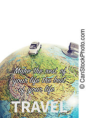 Miniature car traveling the world