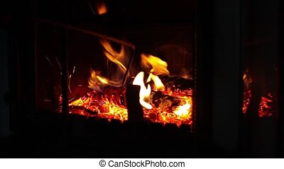flame in the fireplace