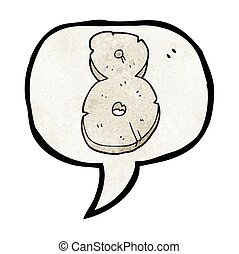 speech bubble textured cartoon stone number eight - freehand...