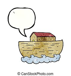 speech bubble textured cartoon noahs ark - freehand speech...