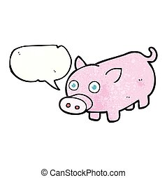 speech bubble textured cartoon piglet - freehand speech...