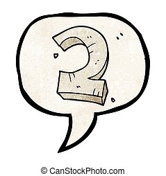 speech bubble textured cartoon stone number two - freehand...