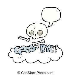 speech bubble textured cartoon good-bye symbol - freehand...