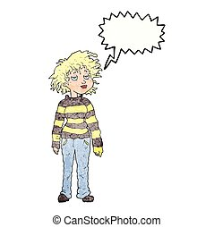 speech bubble textured cartoon chilled out girl - freehand...