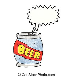 speech bubble textured cartoon beer can - freehand speech...