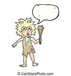 speech bubble textured cartoon cave woman - freehand speech...