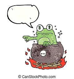 speech bubble textured cartoon halloween toad in cauldron -...