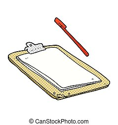 cartoon clip board - freehand drawn cartoon clip board
