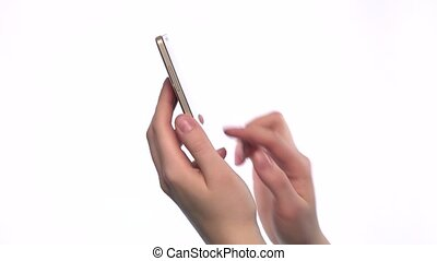 Hands holding and touchs smartphone on white background