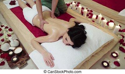 Brunette Female Receiving Upper Body Massage - Brunette...