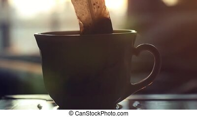 teabag puts in Cup of teain slowmotion on sunshine 1920x1080...