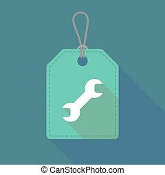 Long shadow label icon with a wrench - Illustration of a...