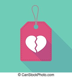Long shadow label icon with a broken heart - Illustration of...