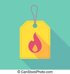 Long shadow label icon with a flame