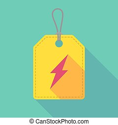 Long shadow label icon with a lightning
