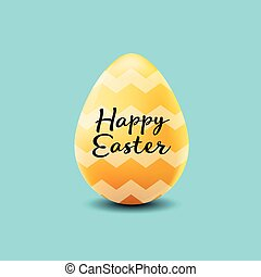 happy easter poster, realistic yellow egg with wave pattern on a blue background
