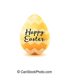 happy easter poster, realistic yellow egg with wave pattern on a white background