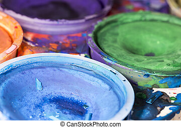 Water Colour Paint Palette Close Up.