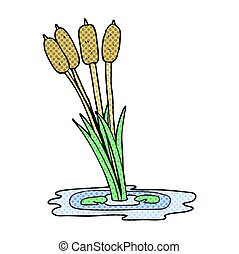 cartoon reeds - freehand drawn cartoon reeds