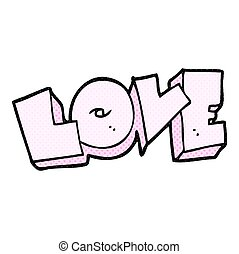 cartoon love sign - freehand drawn cartoon love sign