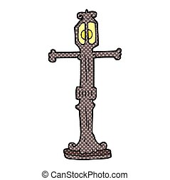 cartoon street lamp - freehand drawn cartoon street lamp