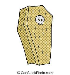 cartoon spooky coffin - freehand drawn cartoon spooky coffin