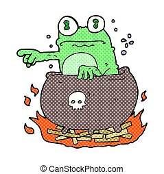 cartoon halloween toad in cauldron - freehand drawn cartoon...
