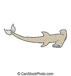 cartoon hammerhead shark - freehand drawn cartoon hammerhead...