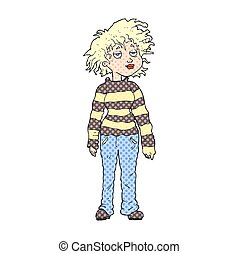 cartoon chilled out girl - freehand drawn cartoon chilled...