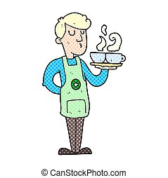 cartoon barista serving coffee - freehand drawn cartoon...