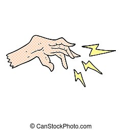 cartoon hand casting spell - freehand drawn cartoon hand...