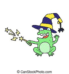 cartoon toad casting spell - freehand drawn cartoon toad...