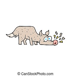 cartoon dog sniffing  - freehand drawn cartoon dog sniffing