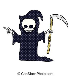 cartoon death with scythe - freehand drawn cartoon death...