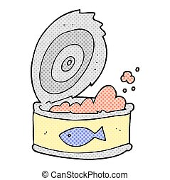 cartoon can of tuna - freehand drawn cartoon can of tuna