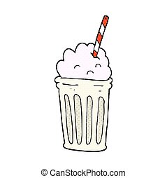 cartoon milkshake - freehand drawn cartoon milkshake