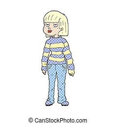 cartoon woman in casual clothes - freehand drawn cartoon...