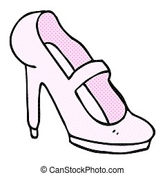 cartoon high heeled shoe - freehand drawn cartoon high...