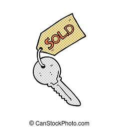 cartoon new house key - freehand drawn cartoon new house key