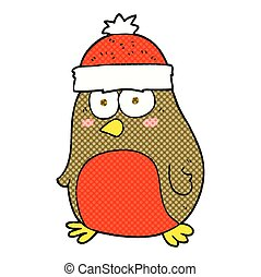 cartoon christmas robin - freehand drawn cartoon christmas...