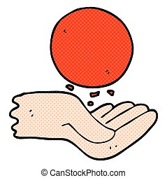 cartoon hand throwing ball - freehand drawn cartoon hand...