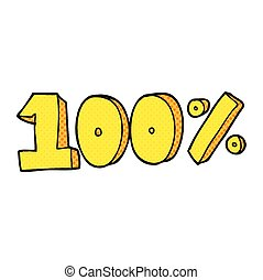 cartoon 100 per cent symbol - freehand drawn cartoon 100 per...