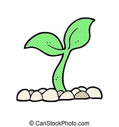 cartoon seedling - freehand drawn cartoon seedling