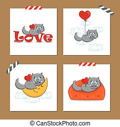 Valentine's day cards with cat
