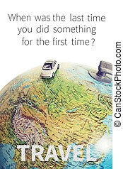 Miniature car traveling the world with quote
