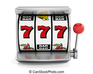 Slot machine with three seven's isolated on white...