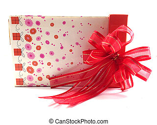 Lean gift box with red bow isolated on white background
